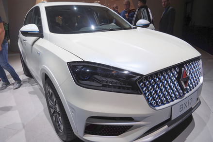 Chic and simple: The Borgward Bxi7 is an electrically-powered mid-size SUV with matt white paint.